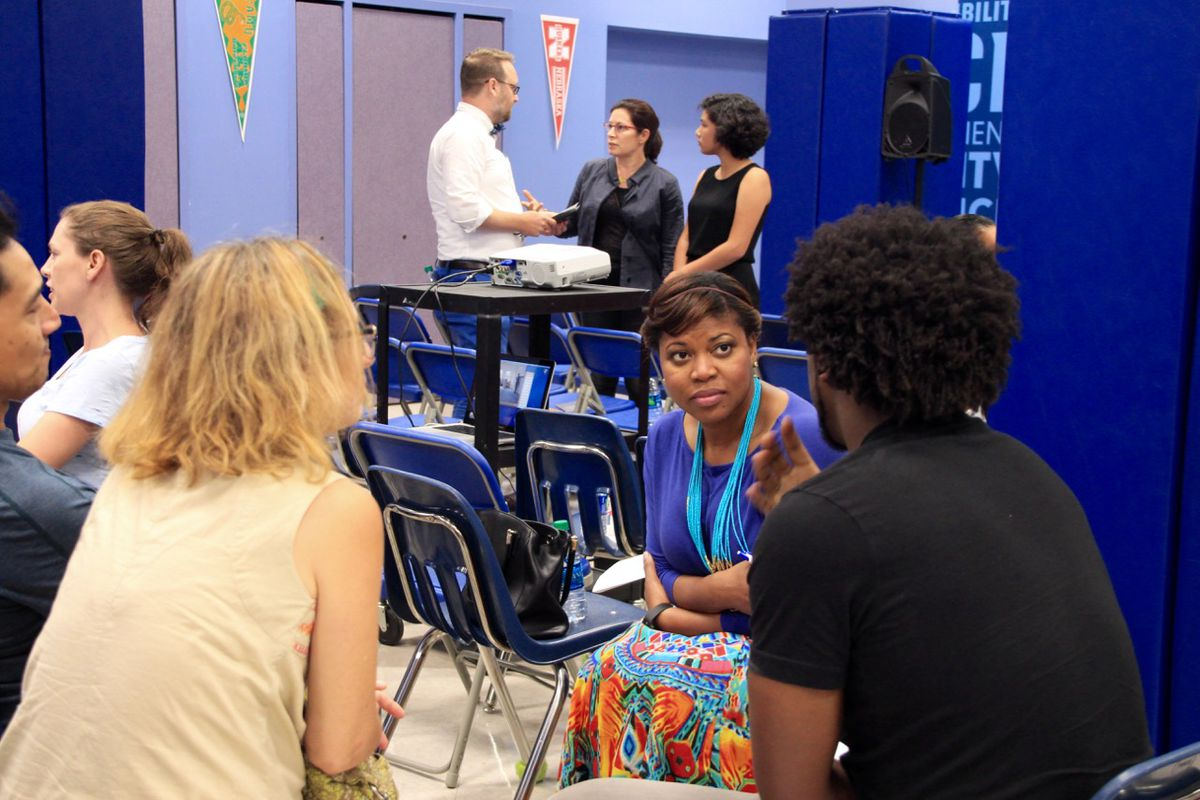 """Precious Boyle discusses how to improve the high school experience with others after the Memphis screening of """"Most Likely to Succeed,"""" a 2015 documentary on project-based learning."""