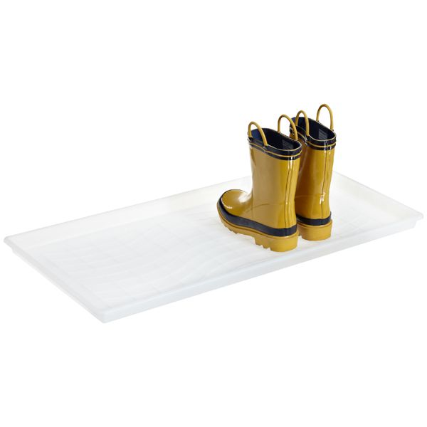 Clear tray with yellow boots on them.