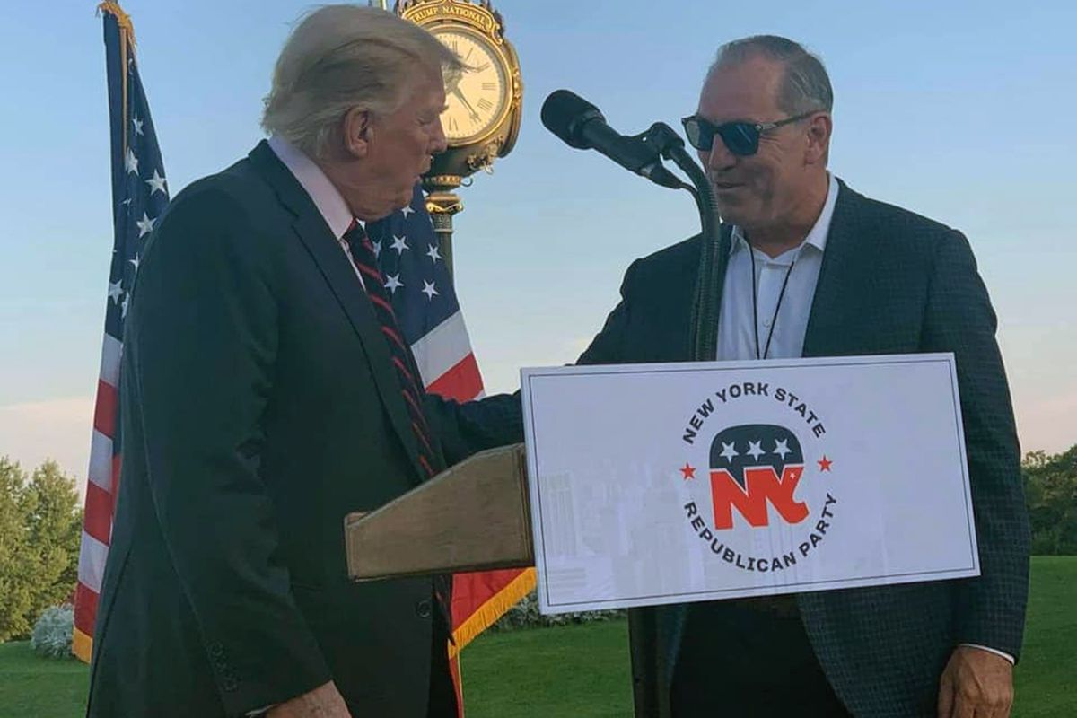 Staten Island borough president candidate Vito Fossella attends an event with former President Donald Trump.