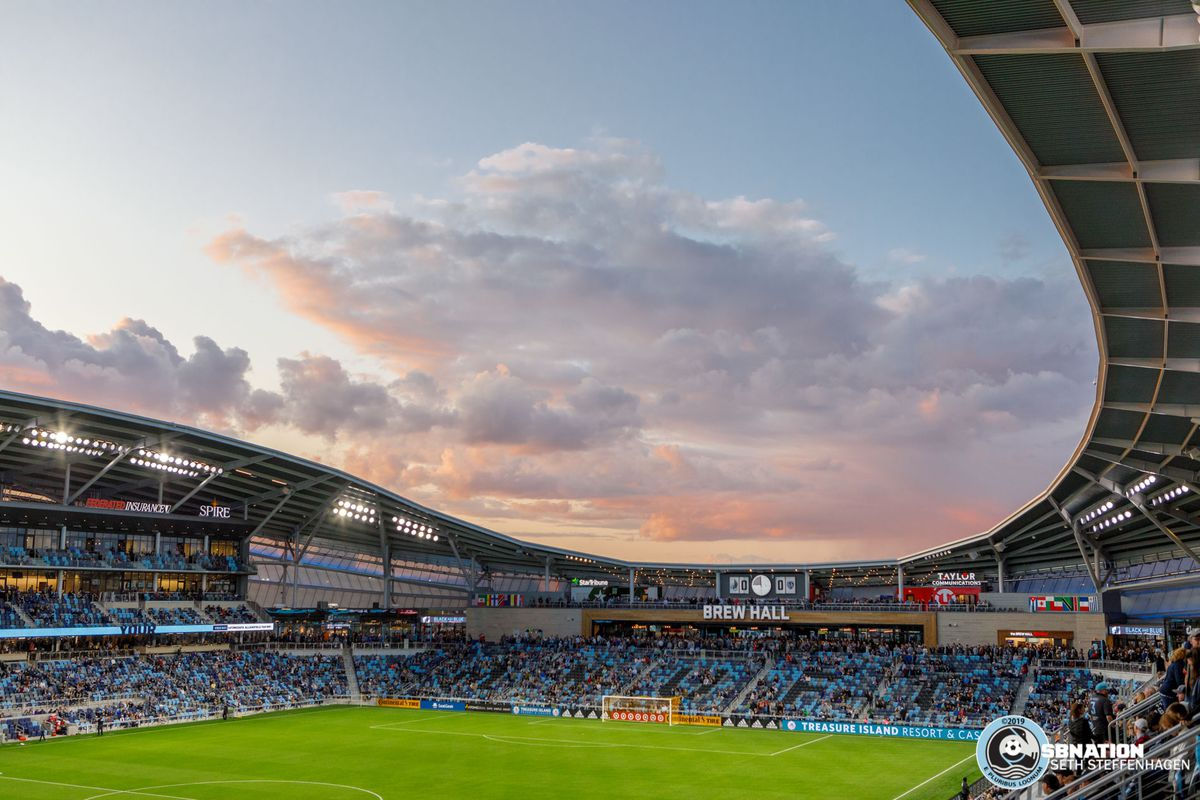 September 25, 2019 - Saint Paul, Minnesota, United States - Dark clouds pass over Allianz Field prior to kickoff of the Minnesota United vs Sporting KC match at Allianz Field.