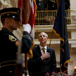 Senate President Wayne Niederhauser, R-Sandy, stands as the colors are presented by the National Guard in the Senate on the first day of the Legislature at the Capitol in Salt Lake City on Monday, Jan. 25, 2016.