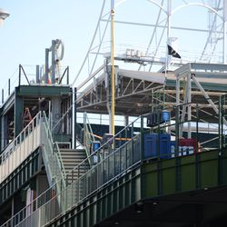 4:39 p.m. New framework appearing, at the top of the right-center field bleachers -