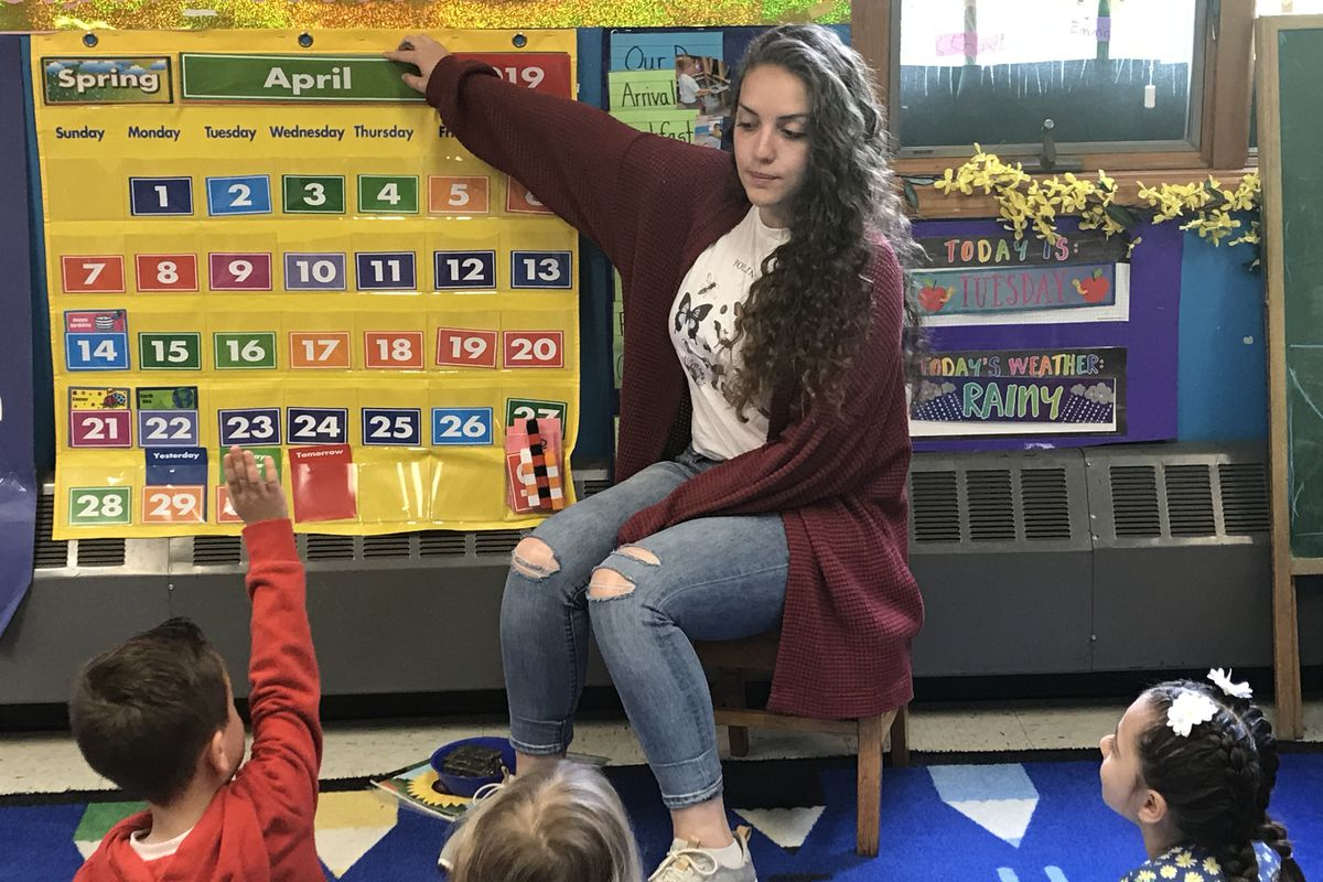 Tara Entrieri teaches a pre-K class at a community-based organization in Staten Island.