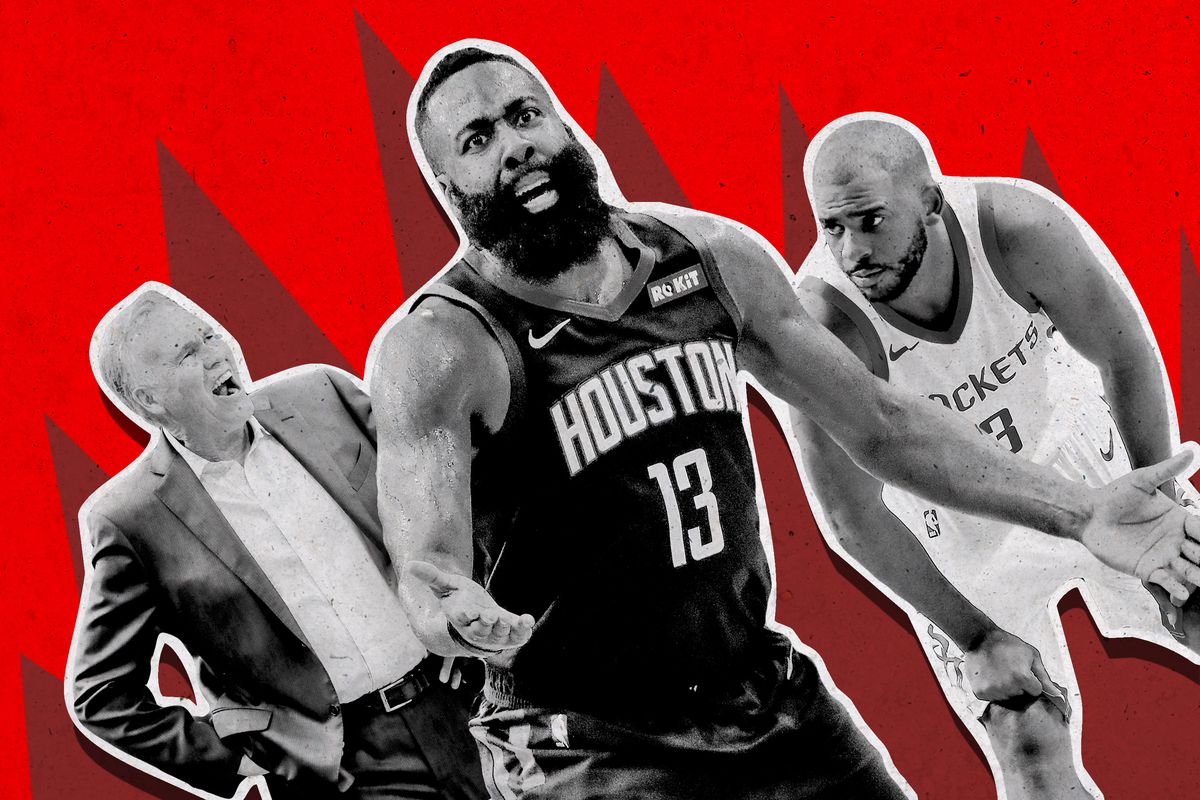 Mike D'Antoni, James Harden, and Chris Paul, all looking distraught