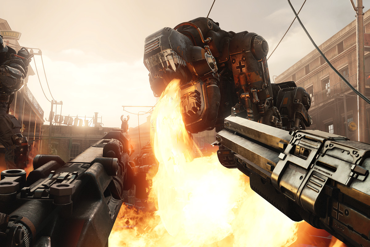 Wolfenstein 2: The New Colossus - dual-wielding weapons against flying, fire-breathing Nazi robot dogs