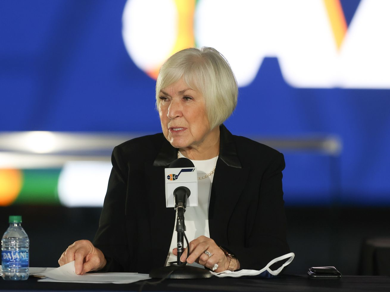 Gail Miller speaks at a press conference announcing the sale of the Utah Jazz to Qualtrics CEO Ryan Smith at Vivint Arena.