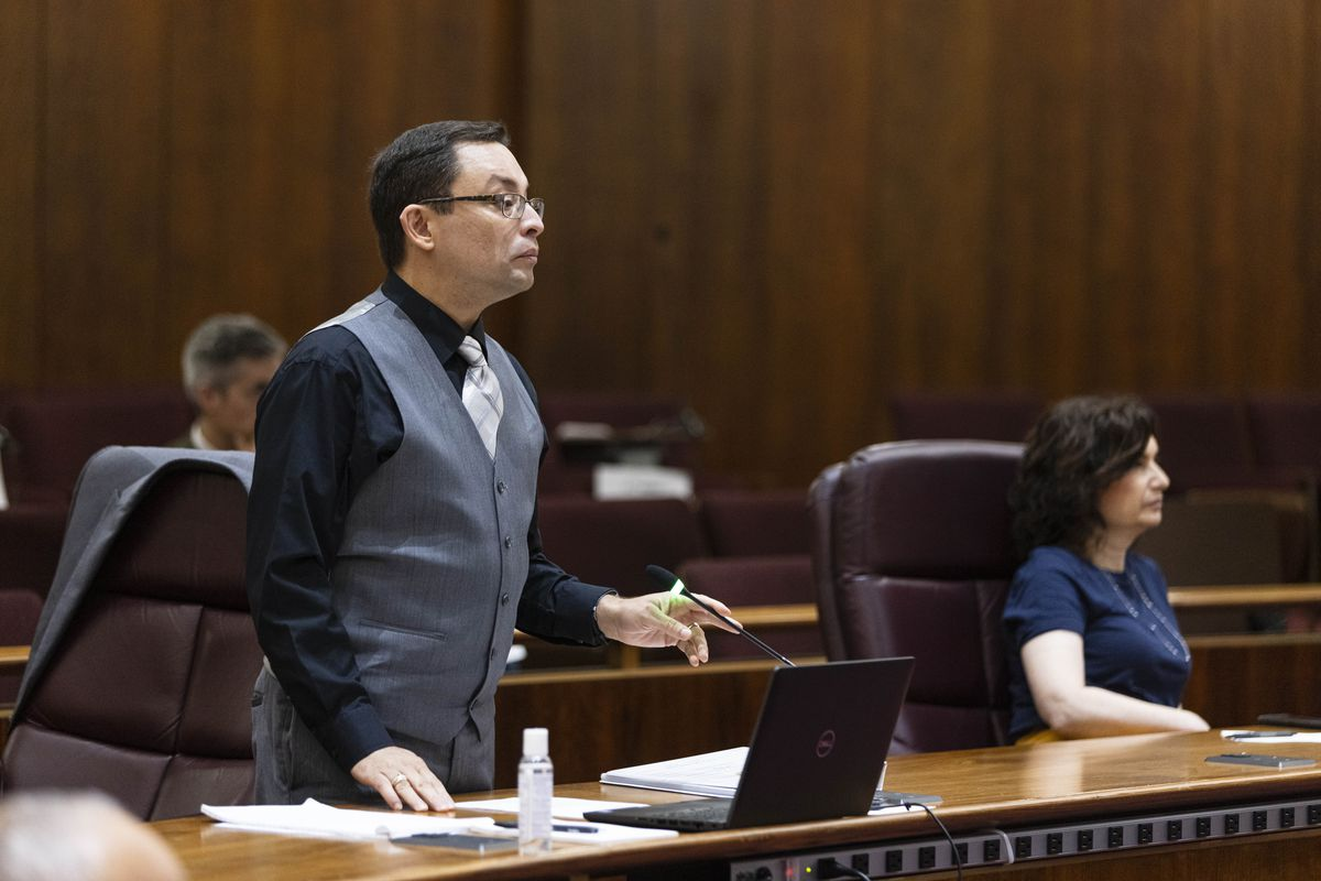 Ald. Raymond Lopez (15th) asks Supt. David Brown a question during a special council meeting Friday.