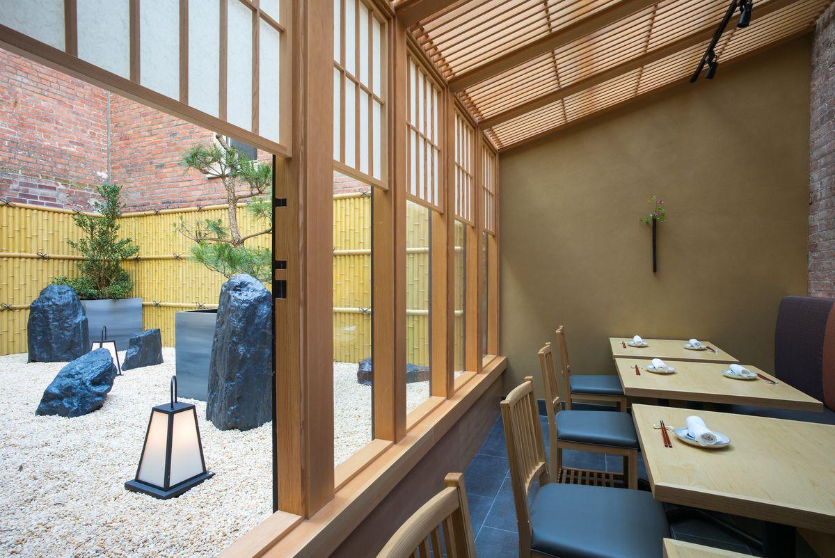 Tables overlooking the zen garden