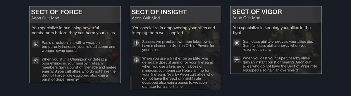 Destiny 2 Season of the Chosen cult of Aeon Exotic mods