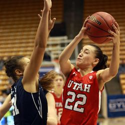 Utah's Danielle Rodriguez shoots over BYU's Morgan Bailey during a women's basketball game at the Marriott Center in Provo on Saturday, Dec. 14, 2013. Utah won in double overtime 82-74.