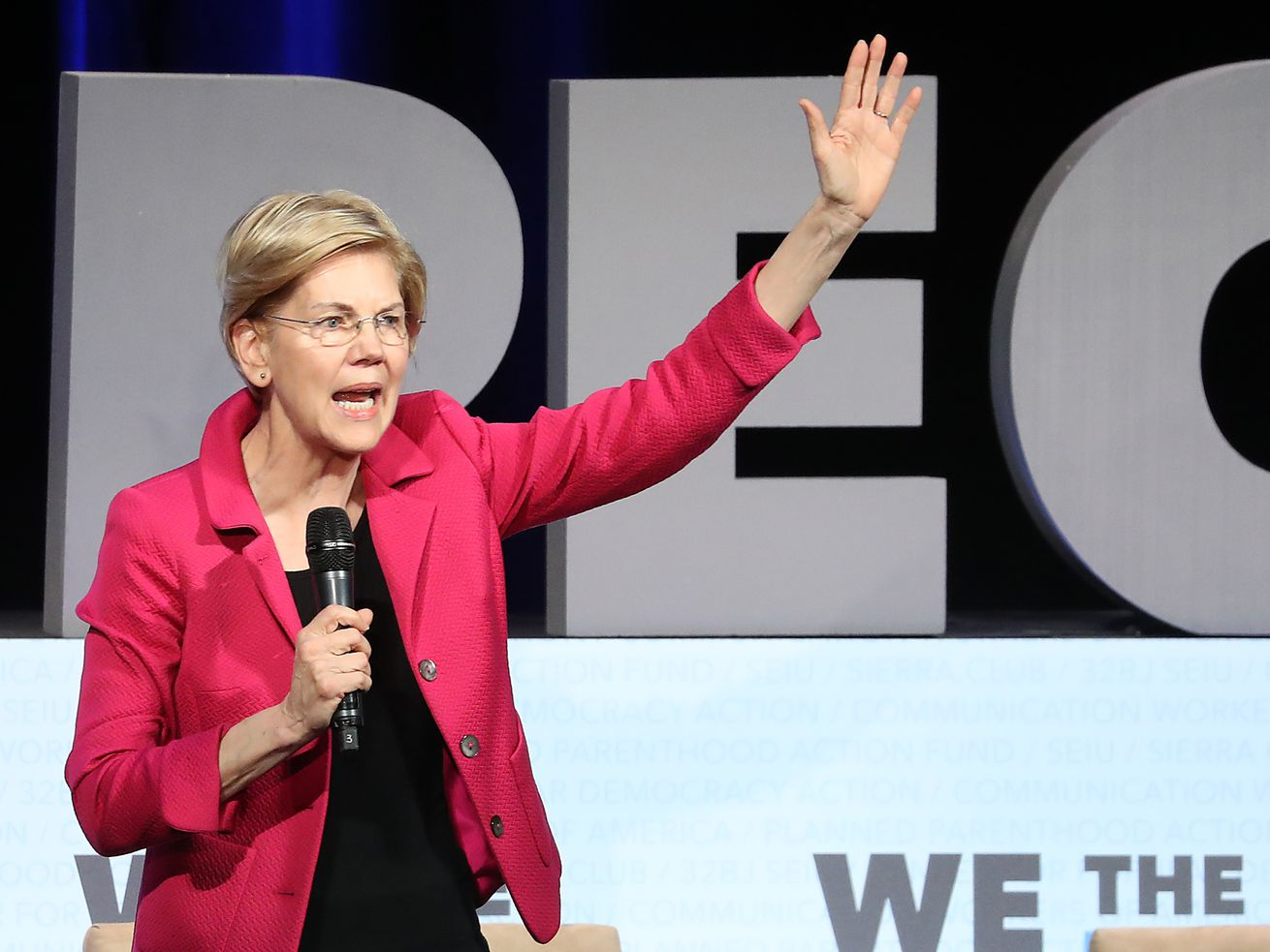 "Sen. Elizabeth Warren at the ""We the People"" summit in Washington, DC, in April 2019."