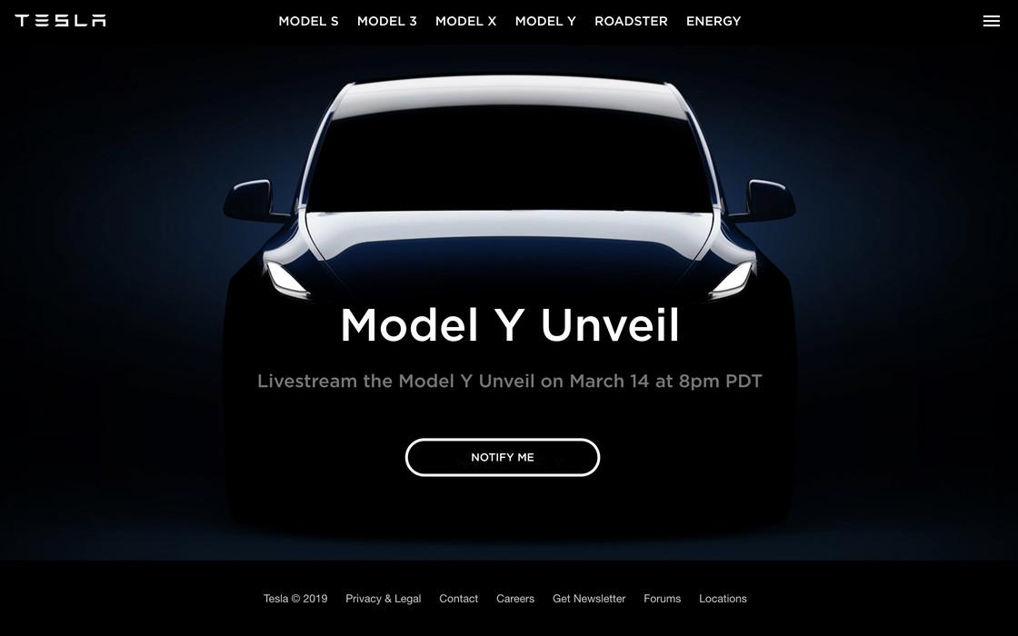The Tesla website's teaser for the Model Y unveiling event.