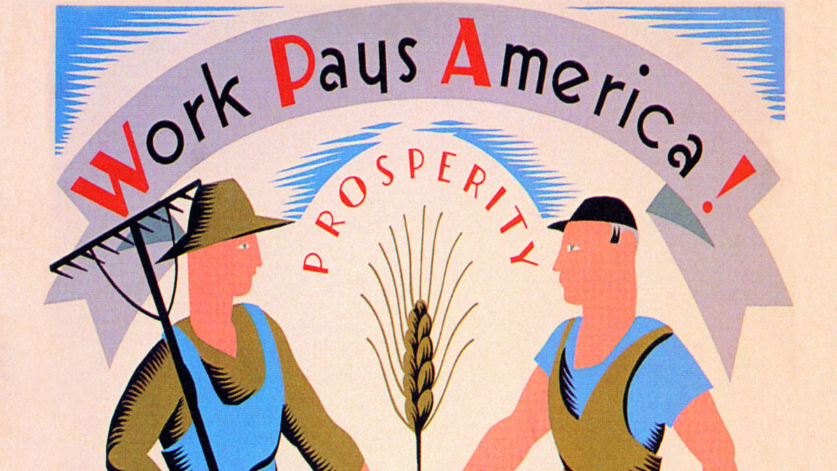A poster showing two laborers shaking hands, part of a program in the 1930s to promote the WPA.