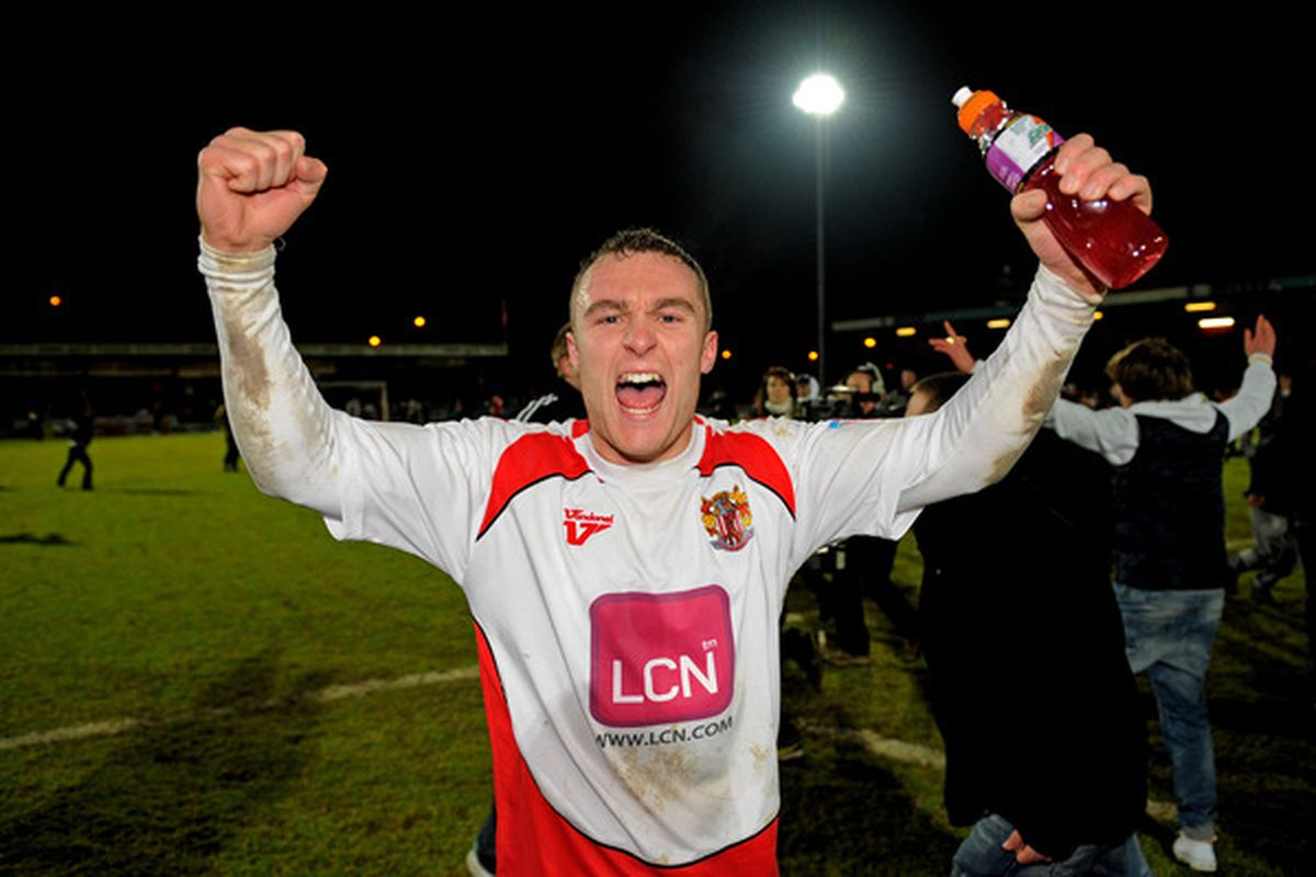 Peter Winn of little Stevenage (yes, that Stevenage) celebrates following his team's memorable third-round FA Cup upset over Newcastle. Who at the quaint Lamex Stadium could ever forget this day?