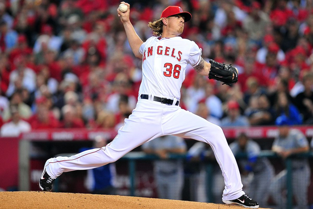 April 6, 2012; Anaheim, CA, USA; Los Angeles Angels starting pitcher Jered Weaver (36) pitches in the first inning against the Kansas City Royals at Angel Stadium. Mandatory Credit: Gary A. Vasquez-US PRESSWIRE