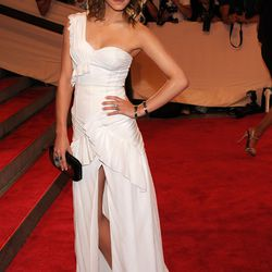 Emma Watson wore a ruffle-replete white gown to the 2010 Met Gala.