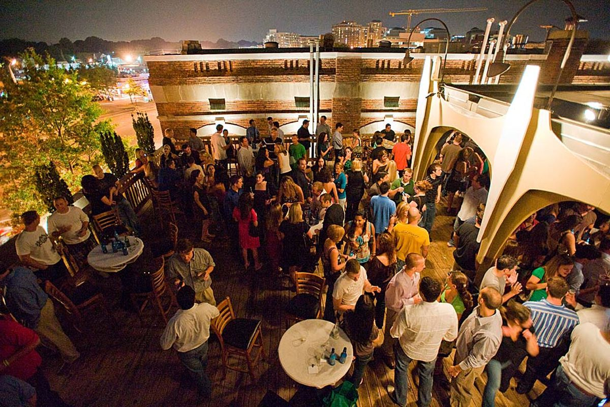 People pack the popular rooftop at Clarendon Ballroom