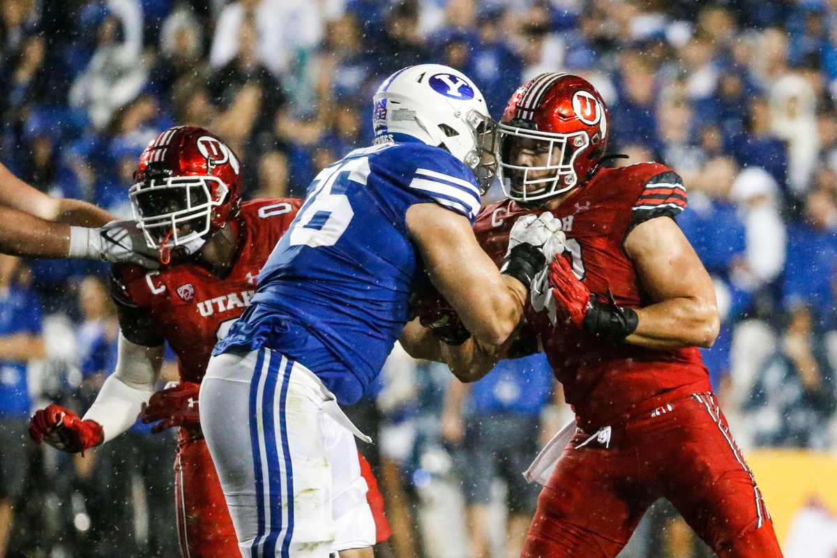 BYU and Utah compete during the second half of an NCAA college football gameat LaVell Edwards Stadium in Provo on Saturday, Sept. 11, 2021. BYU won 26-17.