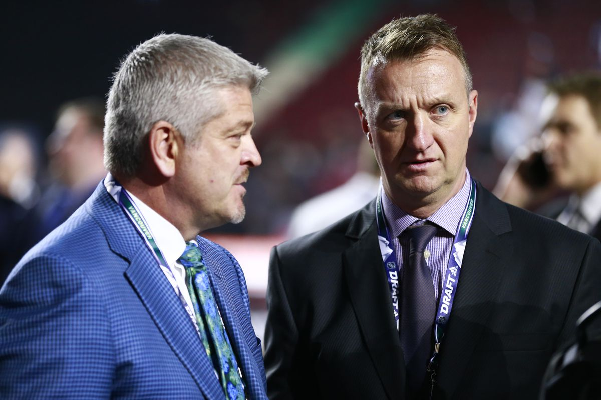 VANCOUVER, BRITISH COLUMBIA - JUNE 21: Head coach Todd McClellan (L) and general manager Rob Blake of the Los Angeles Kings look on during the first round of the 2019 NHL Draft at Rogers Arena on June 21, 2019 in Vancouver, Canada.