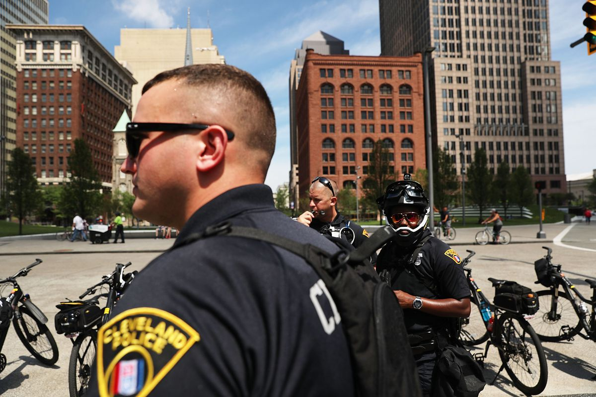 Cleveland police patrol downtown for the Republican National Convention.