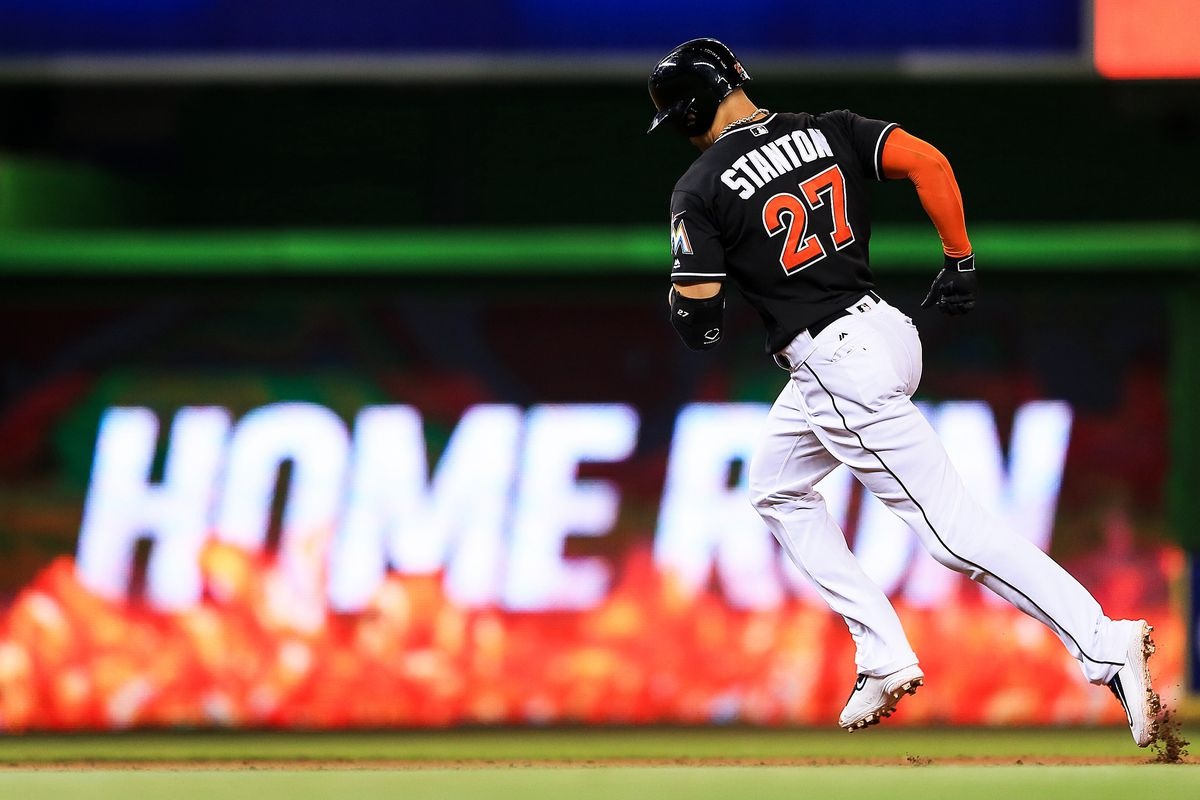 No matter how smart baseball fans get, few things can top the thrill of watching Giancarlo Stanton mash a homer. (GettyImages)