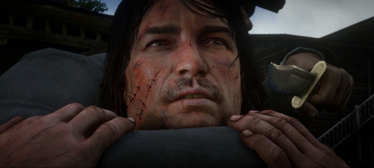 Red Dead Redemption 2 - John Marston being held at knifepoint