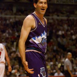 Utah's Jeff Hornacek questions a call during Game 5 of the NBA Finals in Chicago Friday June 12, 1998.