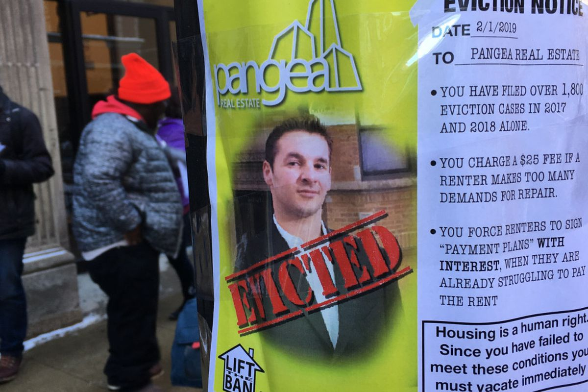 Protesters hand 'eviction' notice to Pangea Properties, push for