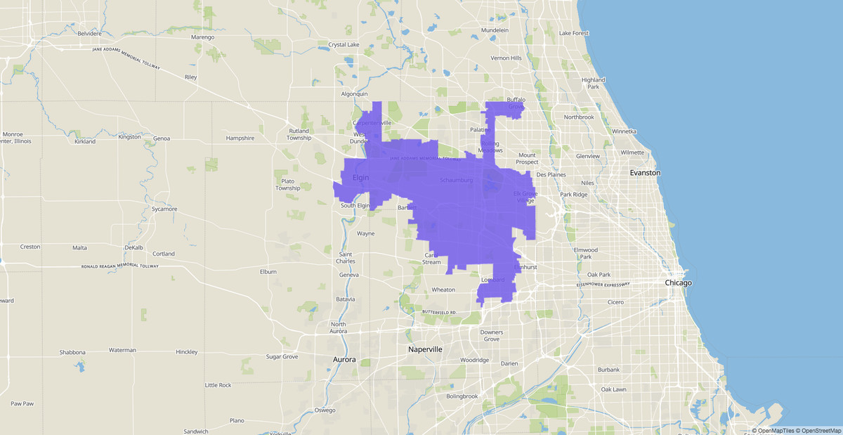 8th Congressional District map, Illinois, U.S. House of Representatives