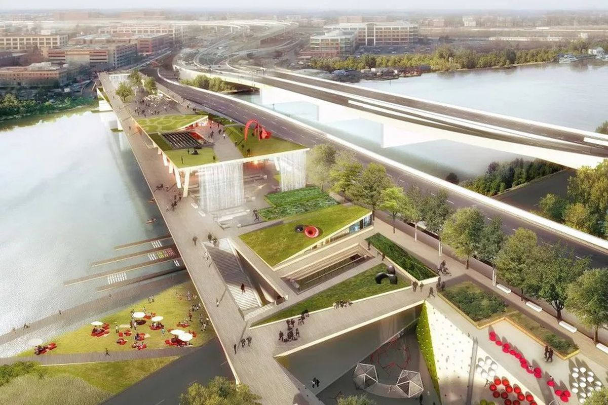 A rendering of a bridge park extending across a river. The rendering shows trees, terraces, and seating.