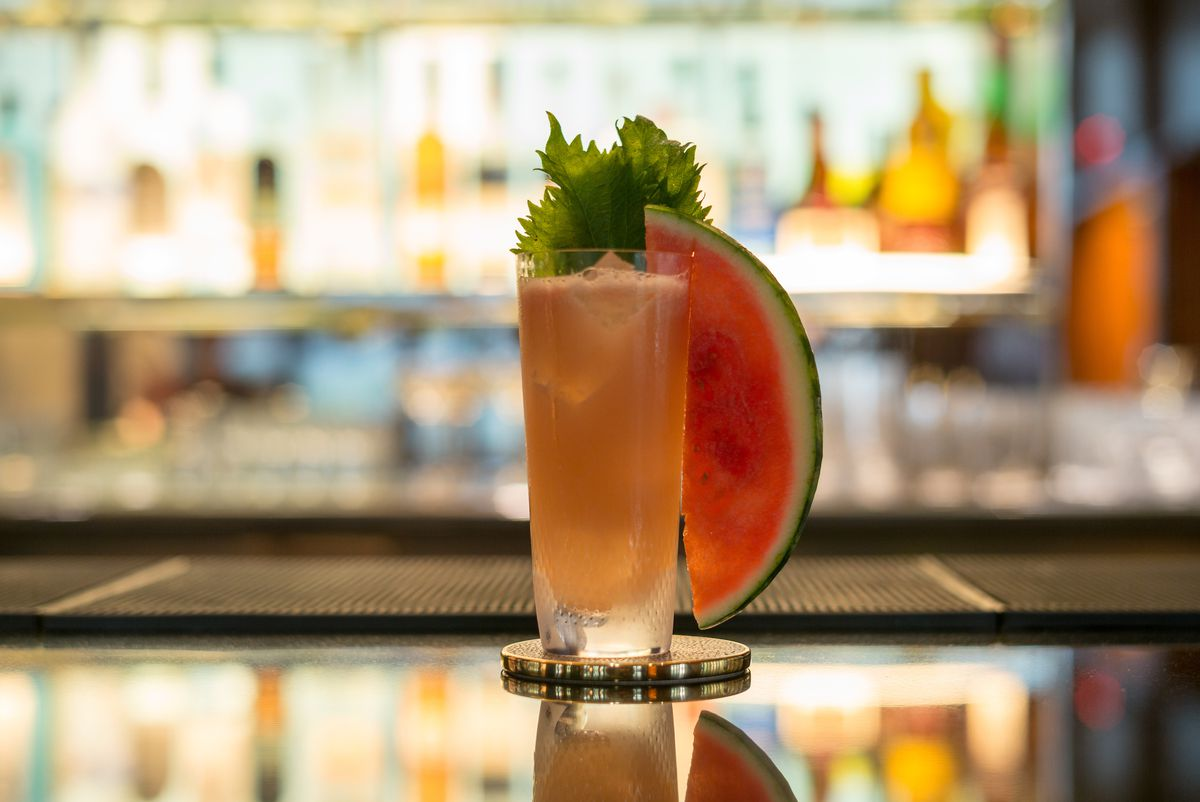 A drink at the Pool Lounge, complete with an entire watermelon slice garnish