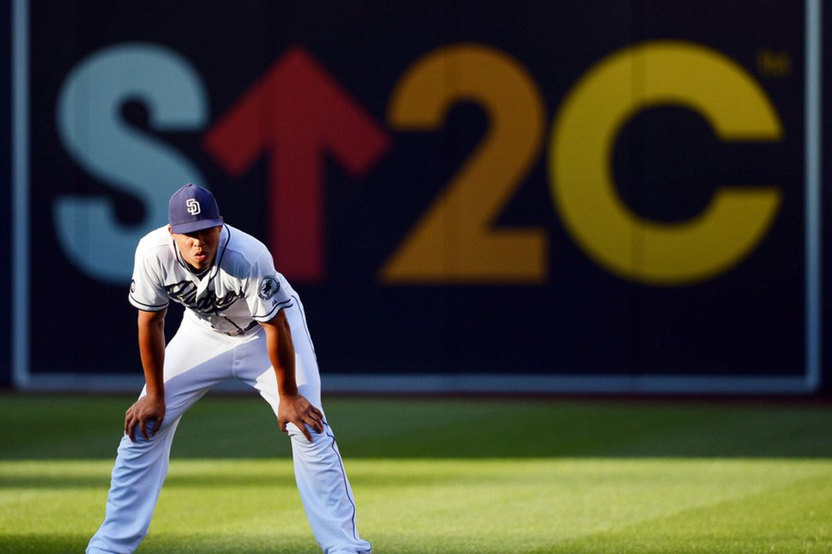 July 7, 2012; San Diego, CA, USA; San Diego Padres right fielder Will Venable (25) stretches prior to a game against the Cincinnati Reds at Petco Park.  Mandatory Credit: Christopher Hanewinckel-US PRESSWIRE