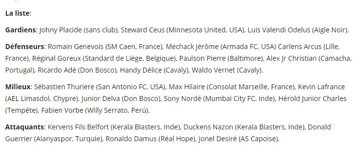 Haiti's squad for October's Caribbean Cup qualifiers