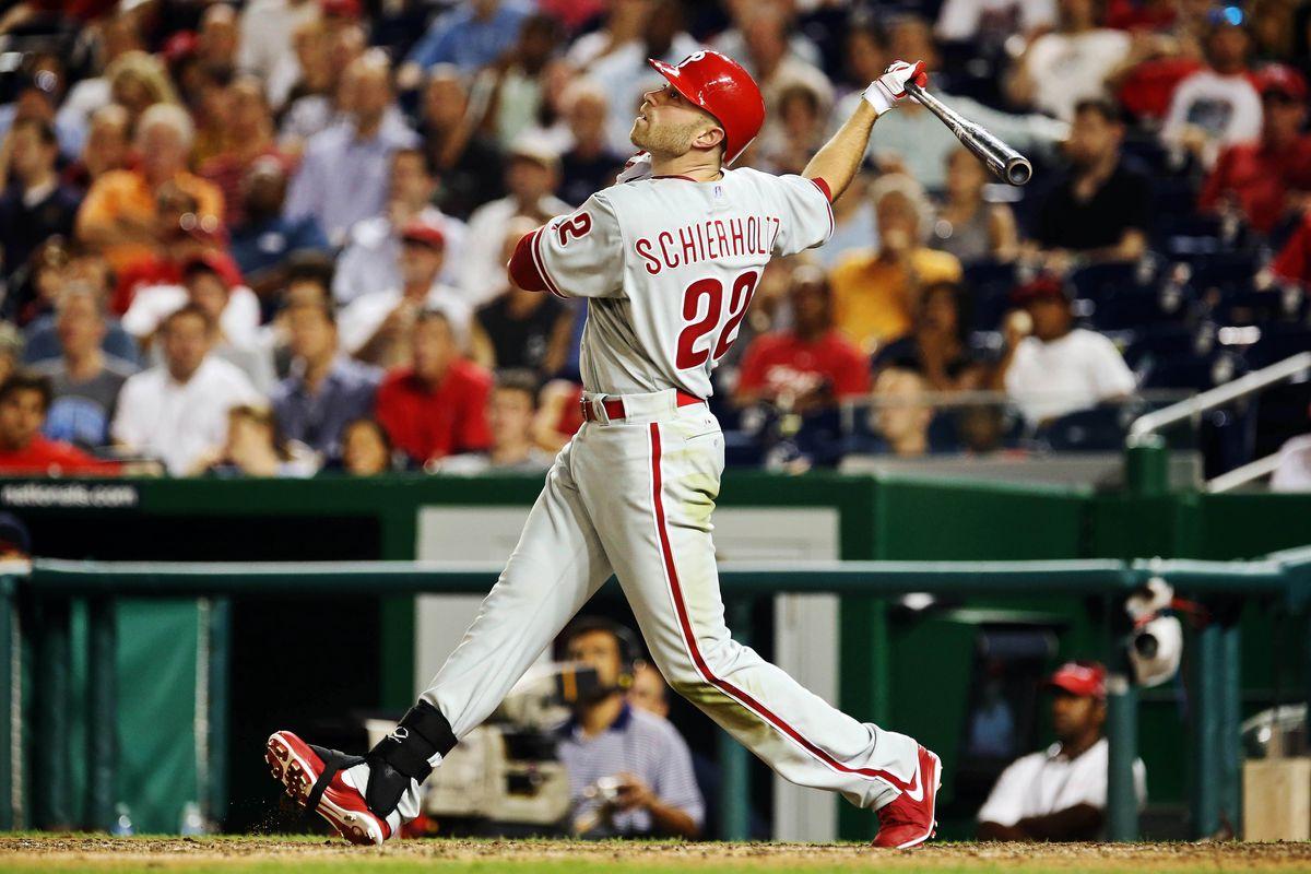 Aug 01, 2012; Washington, DC, USA; Philadelphia Phillies right fielder Nate Schierholtz bats during the game against the Washington Nationals at Nationals Park.  Mandatory Credit: Kevin Jairaj-US PRESSWIRE
