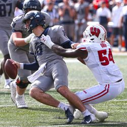 Chris Orr forcing Illini QB Brendan Peters to throw the ball away. The errant toss resulted in a penalty for intentional grounding, setting up 2nd and 19 for Illinois.