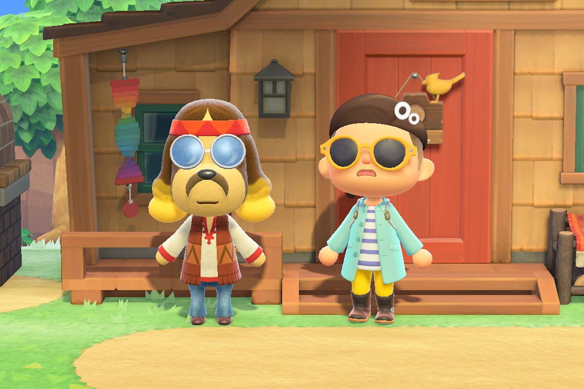 Harvey in Animal Crossing next to a player.