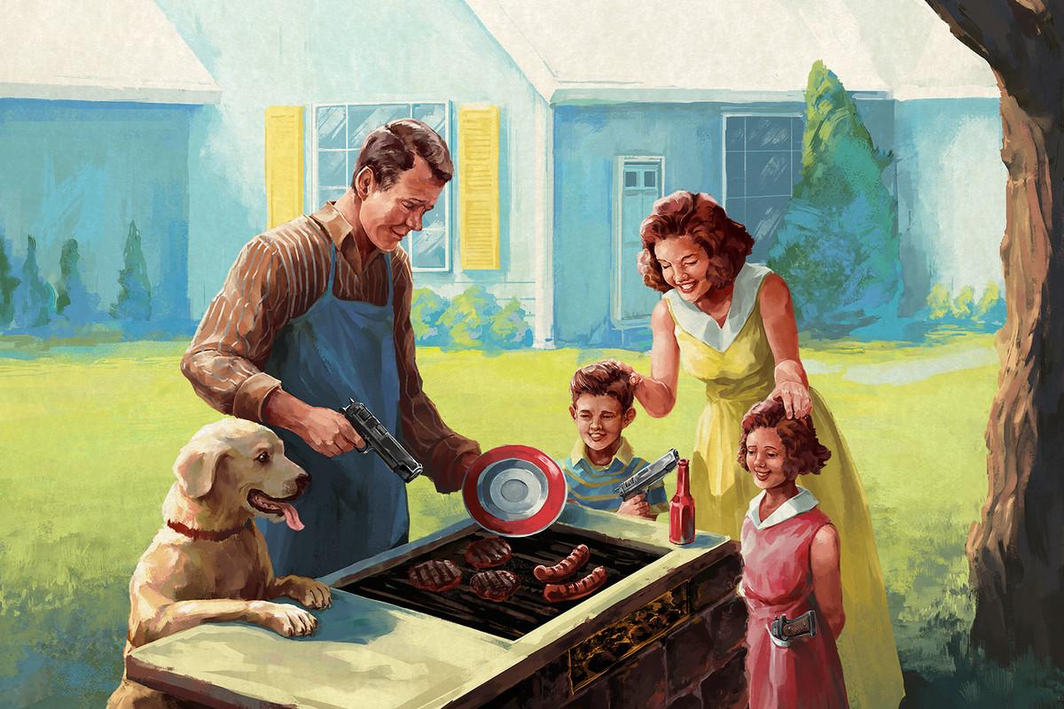 The American Dream - family barbecue art