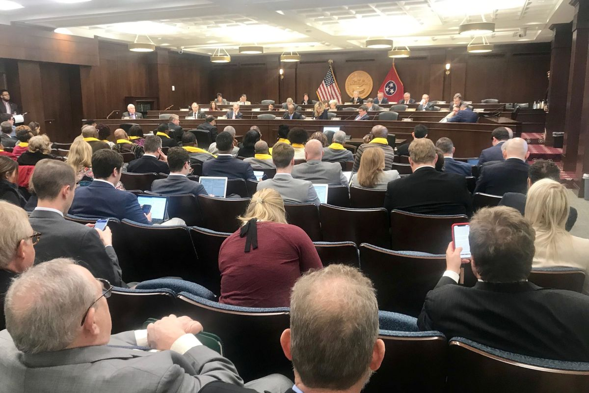 The legislature's Government Operations Committee draws a crowd as lawmakers discuss rules for Gov. Bill Lee's education savings account program.