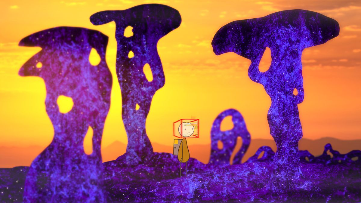 A World of Tomorrow 3 character stands in a surreal, distorted purple landscape