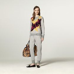 French Terry Sweatshirt in Boom Print, $29.99; French Terry Sweatpant in Grey, $29.99; Drawstring Carry-All Bag in Animal Print, $49.99