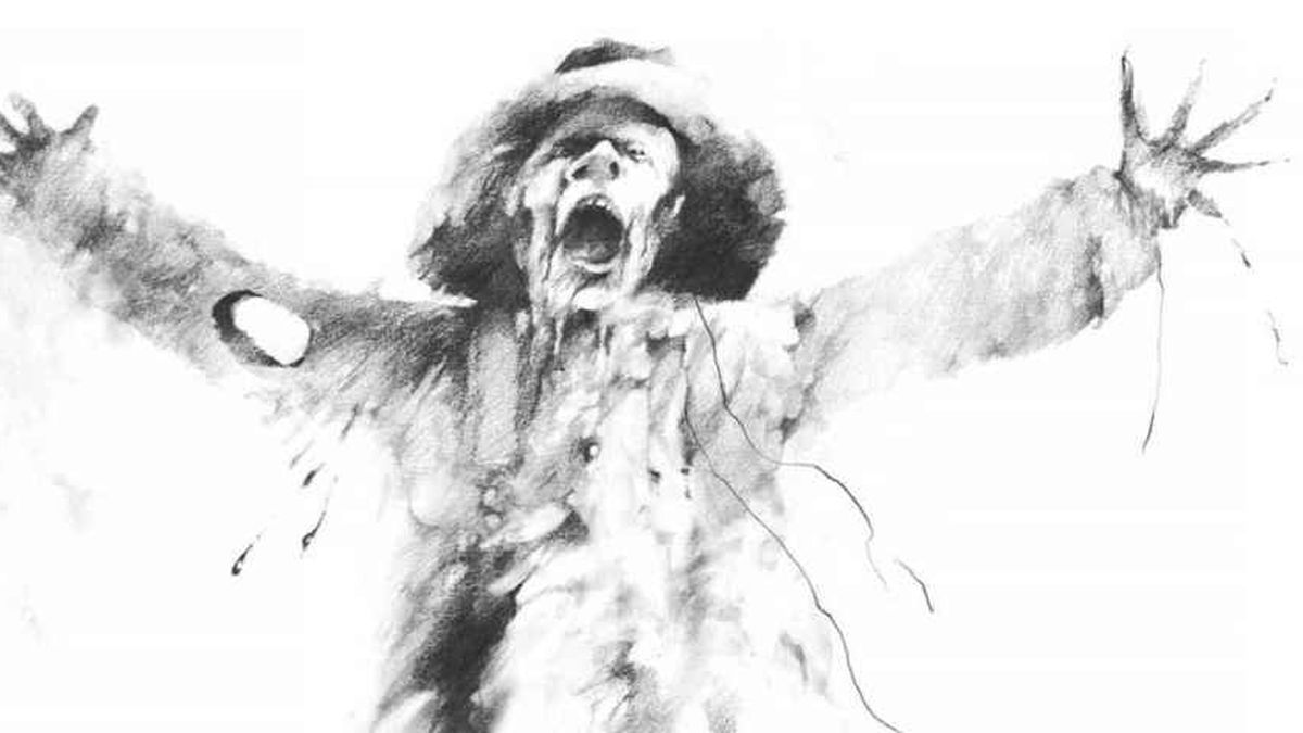 a black and white image of a terrifying scarecrow, mouth agape, raising its arms, hungry for blood