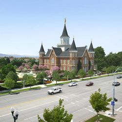 Rendering of the Provo City Center Temple. The temple is being built on the site of the Provo Tabernacle, which burned in December 2010. Plans to construct this temple were announced Oct. 1, 2011.