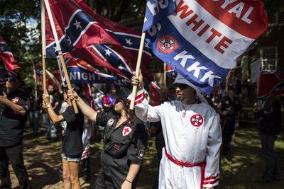 KKK members protest in Charlottesville, Virginia.