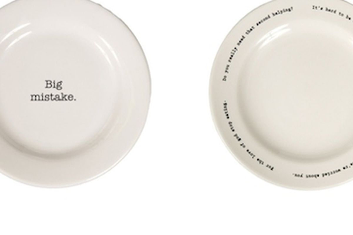 """Finally some dinnerware that supports our dysmorphia. Image via <a href=""""http://jezebel.com/5837660/what-you-dont-think-these-creepy-fat+shaming-plates-are-funny"""">Jezebel</a>"""
