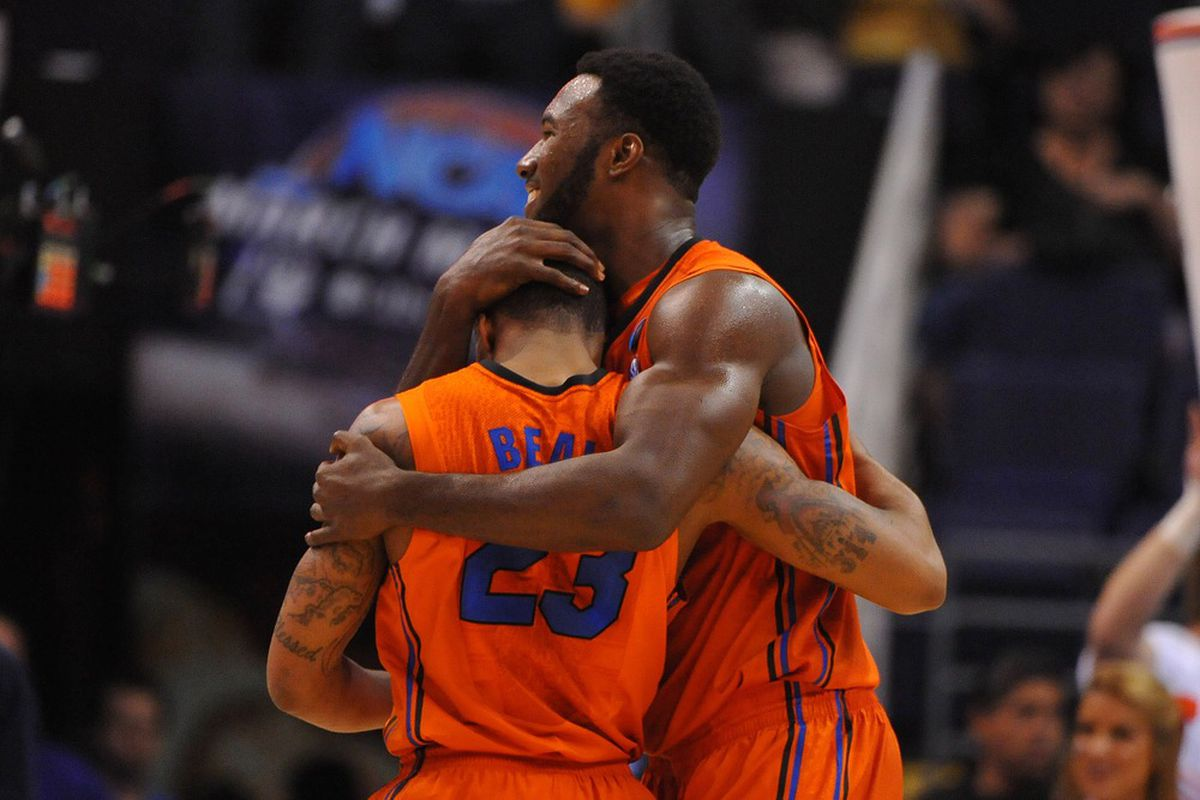 I couldn't find any photos of the BCS presidents, but Patric Young hugging Bradley Beal after Florida's win over Marquette in the NCAA Tournament is always a winner. (Mandatory Credit: Christopher Hanewickel-US PRESSWIRE)