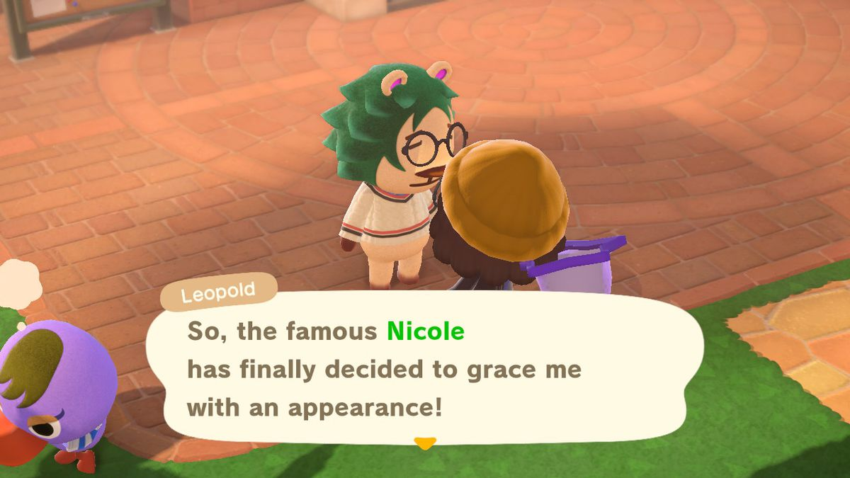Lionel roasting my Animal Crossing character
