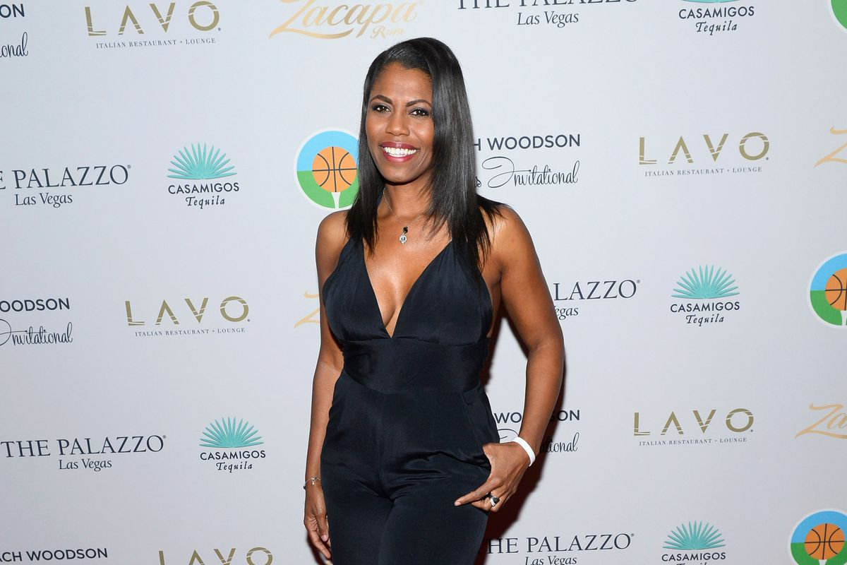 Television personality Omarosa Manigault arrives at the second annual Coach Woodson Las Vegas Invitational pairings party at the Lavo Restaurant & Nightclub at the Palazzo Las Vegas on July 12, 2015, in Las Vegas, Nevada.