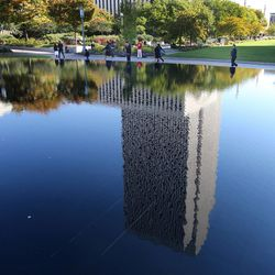 Reflection of the Church Office Building during the opening session of the 183rd Semiannual  General Conference of the Church of Jesus Christ of Latter-day Saints Saturday, Oct. 5, 2013, in Salt Lake City.