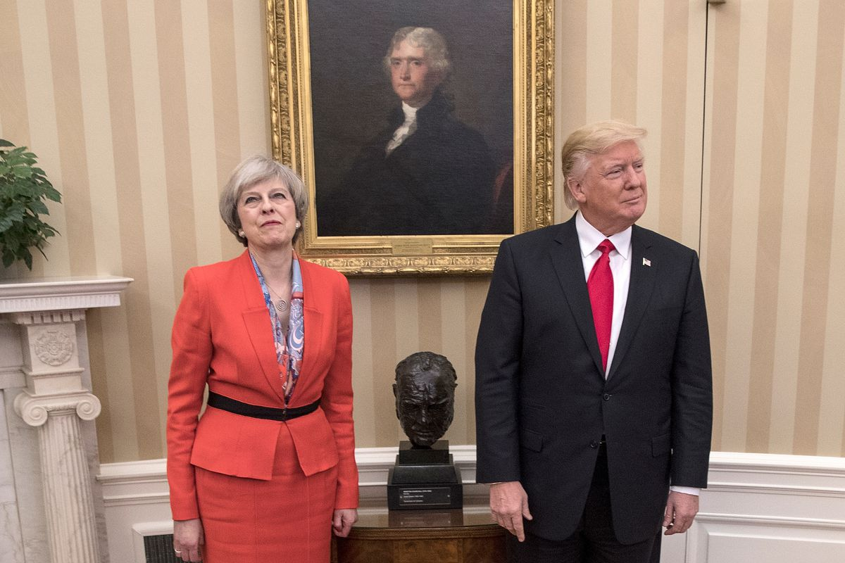 British Prime Minister Theresa May and U.S. President Donald Trump in the Oval Office at the White House on January 27, 2017, in Washington, D.C.