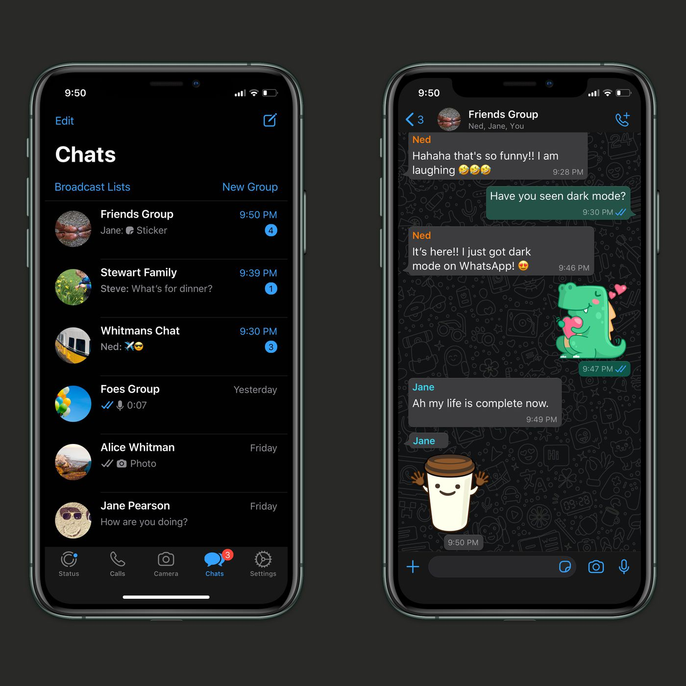 WhatsApp dark mode now available for iOS and Android - The Verge